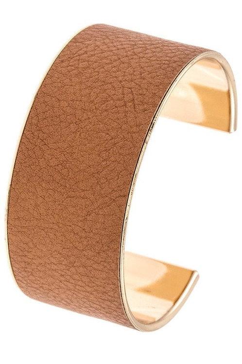 Faux Leather Accent Cuff Bracelet