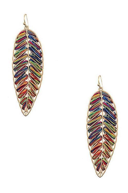 Threaded Leaf Earrings