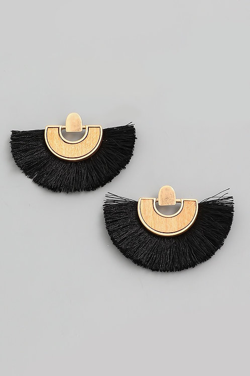 Fringe Wood Earrings