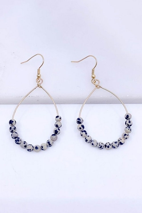 Semi Precious Stone Teardrop Earrings