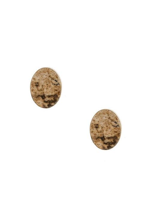 Dainty Oval Stone Stud Earrings