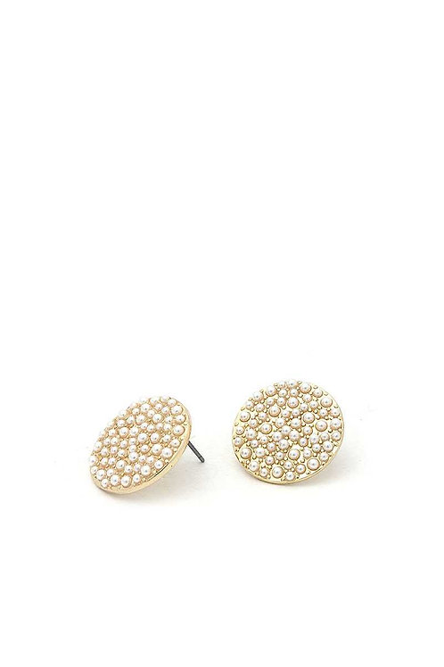 Pearl Disc Stud Earrings