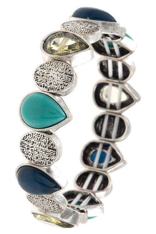 Teardrop Metal Stone Stretch Bracelet