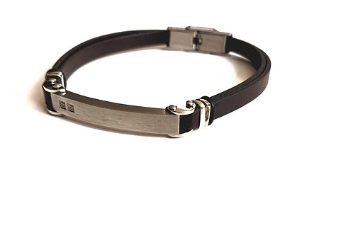 Brown Leather Bracelet with Stainless Accent