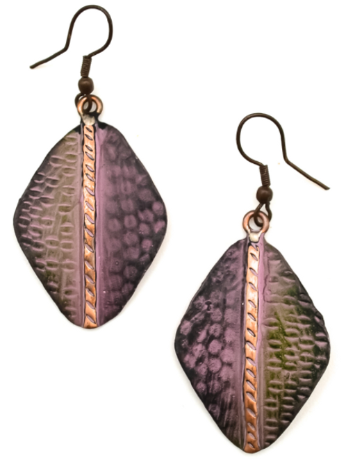Embossed Copper Animal Print Earrings