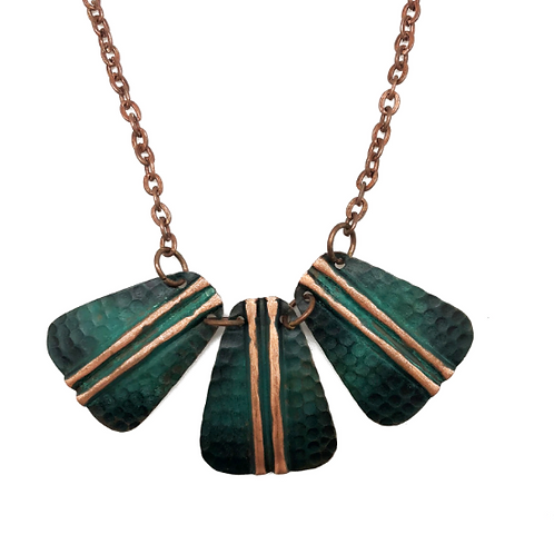 Copper Embossed Parallel Necklace