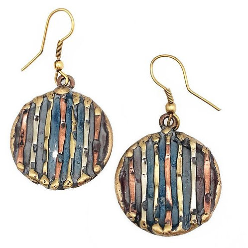Tri-Color Copper Patina Earrings