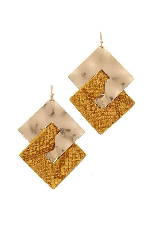 Snake Pattern Metal Drop Earrings