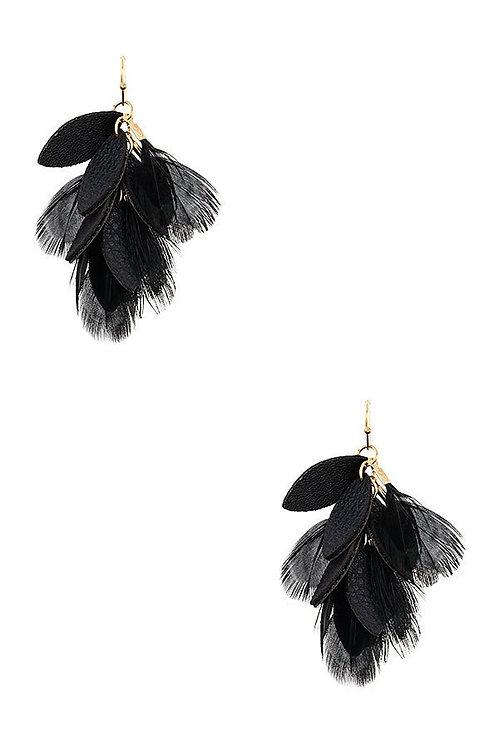 Multi Feather Drop Earrings
