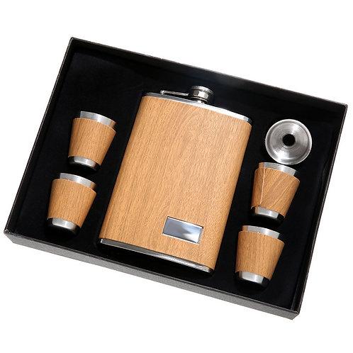 Light Wood Grain 5-Piece Flask Set