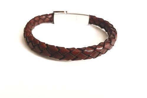 Brick Red Braided Leather Bracelet