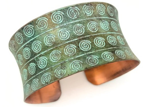 Embossed Copper Patina Bracelet