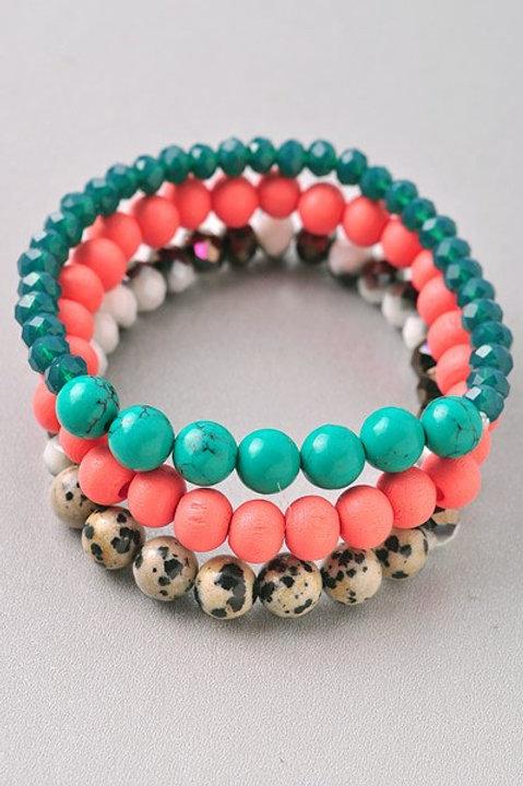 Multi 3-Layered Beaded Bracelet