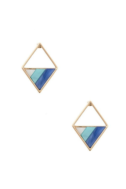 Blue Diamond Shape Mix Tone Post Earrings