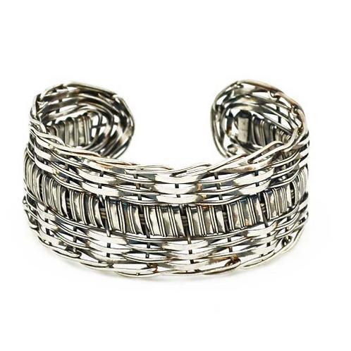 Silvertone Weave Cuff Bracelet MM2