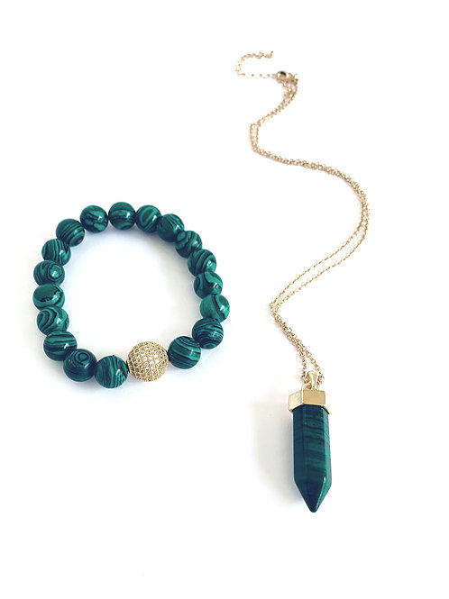 MM Design Green Stone Point Necklace & Bracelet