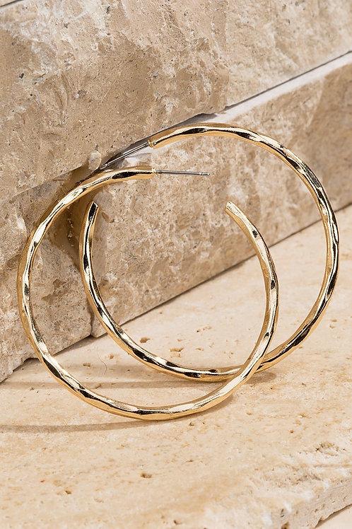 Metal Hammered Hoop Earrings