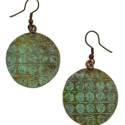 Embossed Copper Patina Earrings