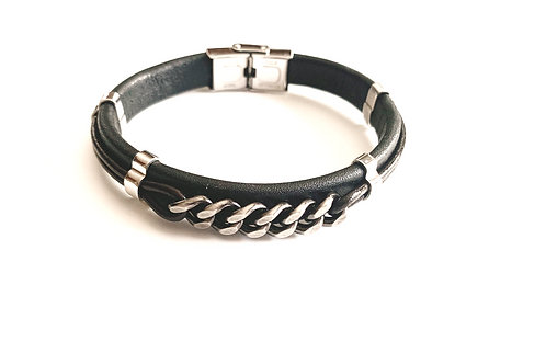 Black Brown Leather Chain Link Centered Bracelet