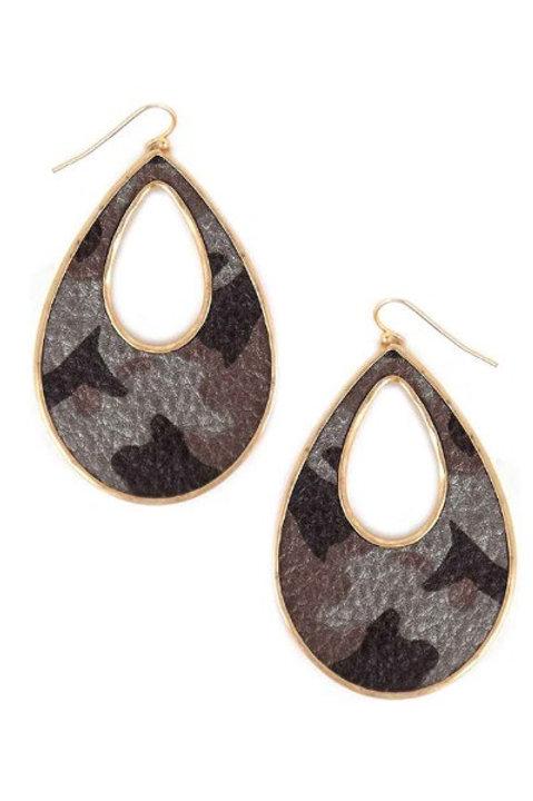 Camouflage Teardrop Earrings