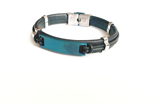 Black Leather Bracelet with Blue Stainless Plate