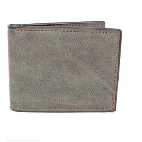 Bi-Fold Grey Stone Leather Wallet