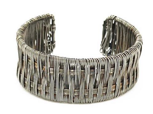 Silvertone Weave Cuff Bracelet