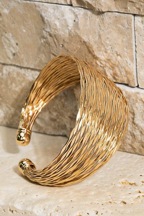 Metal Textured Cuff Bracelet