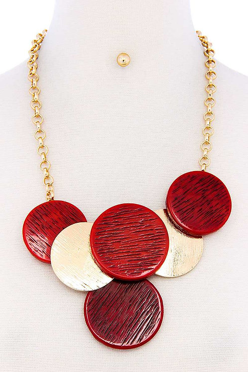 Two-Color Multi Circle Necklace Set