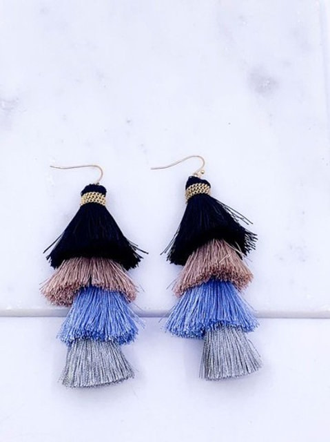 Tiered Tassel Drop Earrings