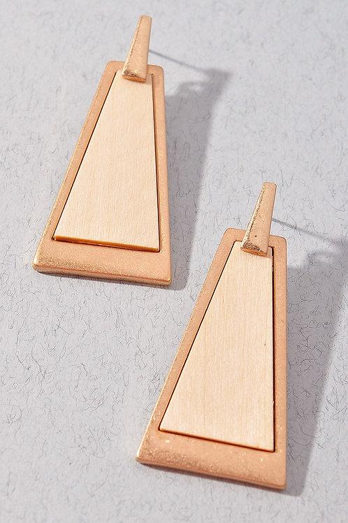 Wood Triangle Earrings