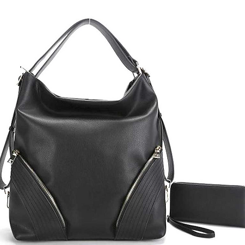 Zip Up Hobo Bag & Wallet