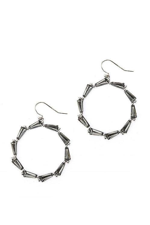Black Rhinestone Hoop Drop Earrings