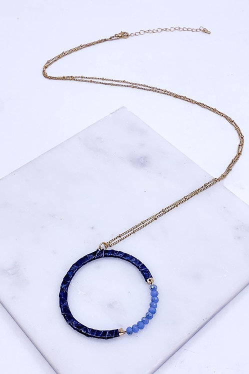 Leather Glass Beaded Ring Pendant Necklace