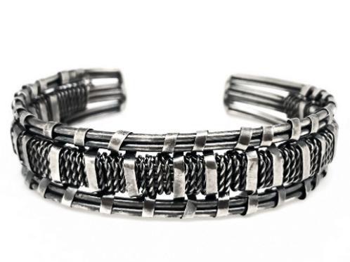 Silver Plated Brass Weave Bracelet
