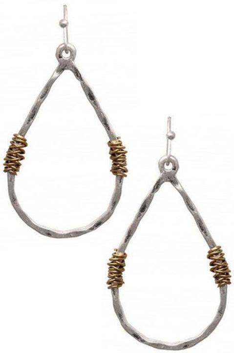 Worn Two-Tone Teardrop Earrings