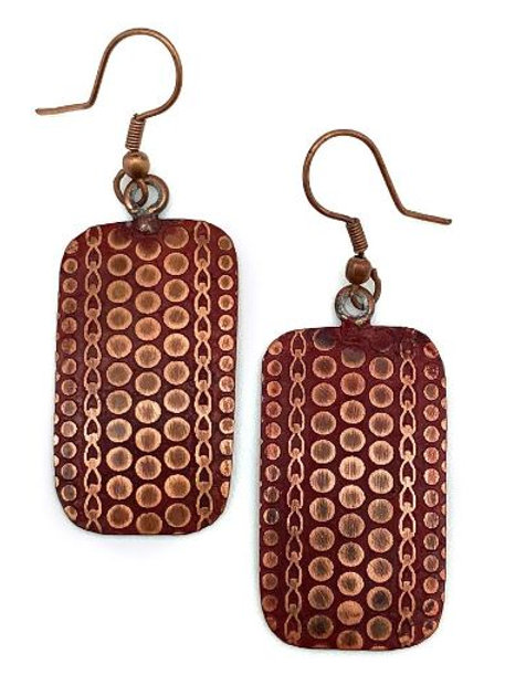 Red Patina Copper Earrings