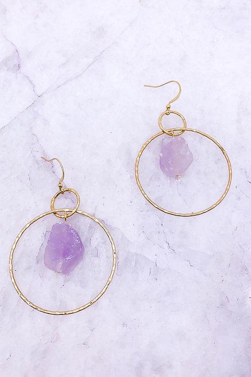 Wire Wrapped Stone Hoop Earrings