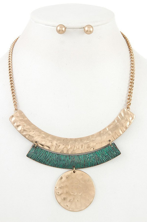 Tiered Hammered Metal Bib Necklace Set