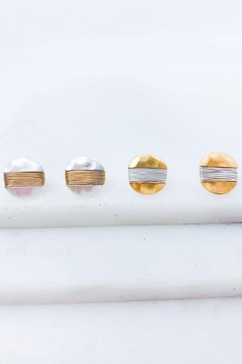 Metal Wire Wrap Post Earrings