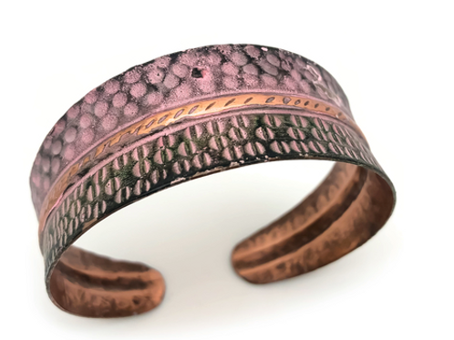 Copper Embossed Animal Print Cuff Bracelet