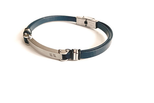 Blue Leather Bracelet with Stainless Accent