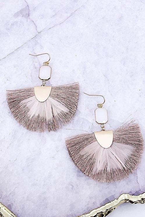 Bezel Stone Fan Tassel Feather Earrings