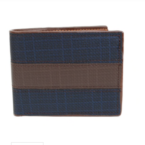 Bi-Fold Leather Navy & Brown Wallet