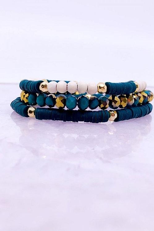 3 Strand Wood & Glass Beaded Bracelet