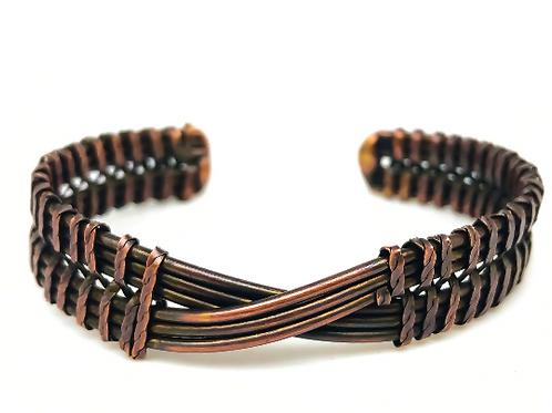 Copper Plated Brass Weave Cuff Bracelet