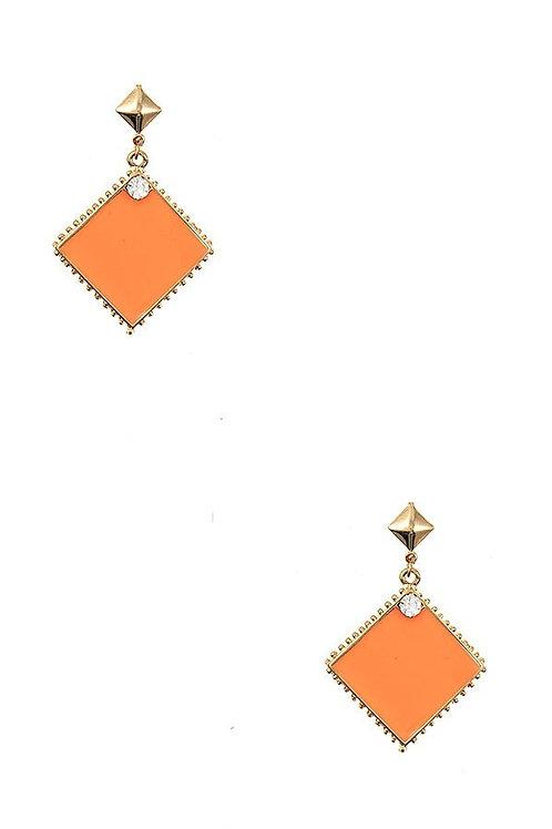 Diamond Framed Dangle Earrings