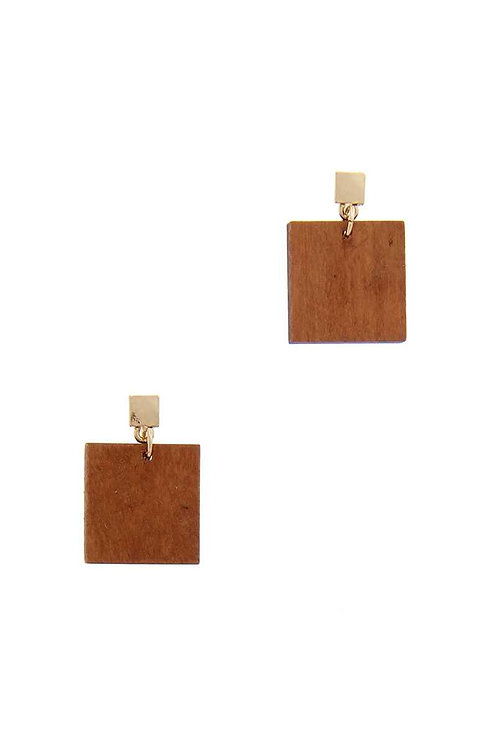 Wooden Square Post Drop Earrings