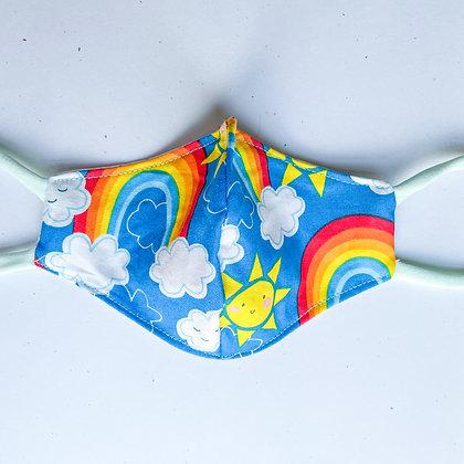 Big Kid Mask- Rainbows and Sunshine Blue