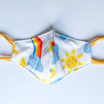 Big Kid Mask- Rainbows and Sunshine White